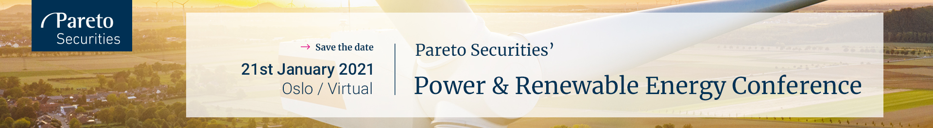 Header image for Pareto Securities' 23rd Annual Power & Renewable Energy Conference
