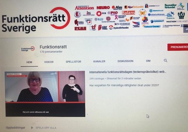 Bild på Funktionsrätt Sveriges kanal på Youtube