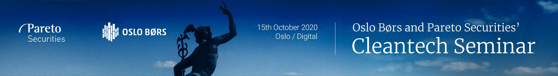 Header image for Oslo Børs and Pareto Securities' Virtual Cleantech Seminar